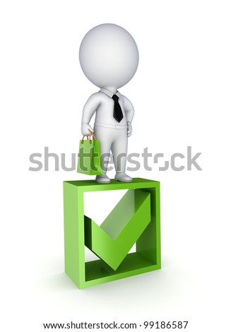 3d small person standing on a green tick mark.isolated on white background.3d rendered. - stock photo