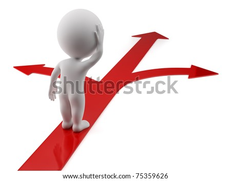 3d small person standing on red arrows. 3d image. Isolated white background. - stock photo