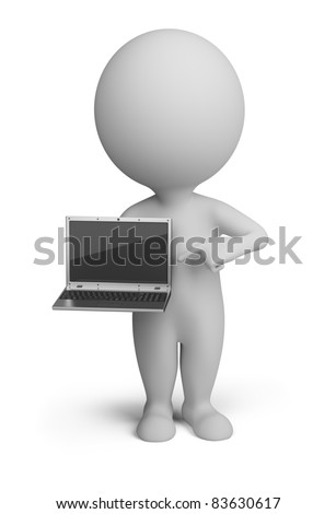 3d small person standing with a laptop in the hands of. 3d image. Isolated white background. - stock photo