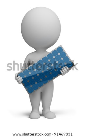 3d small person standing with a solar panel in the hands of. 3d image. Isolated white background. - stock photo