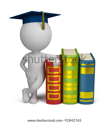 3d small person stands alongside a book in the header of the graduate. 3d image. Isolated white background. - stock photo