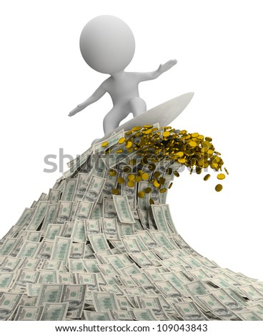 3d small person - surfer on a wave of cash. 3d image. Isolated white background. - stock photo
