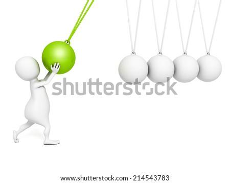 3d small person swaying pendulum Newton. 3d render illustration - stock photo