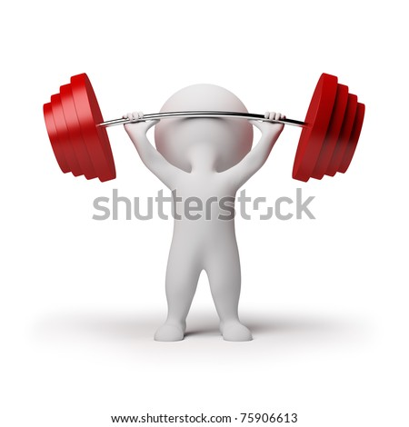 3d small person the lifting heavy weight. 3d image. Isolated white background. - stock photo