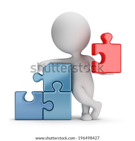 3d small person wielding main puzzle. 3d image. White background. - stock photo