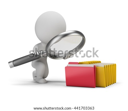 3d small person with a big magnifying glass looks for documents in folders. 3d image. White background. - stock photo