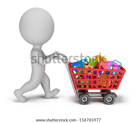 3d small person with a cart buys mobile applications. 3d image. White background. - stock photo
