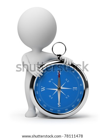 3d small person with a compass. 3d image. Isolated white background. - stock photo