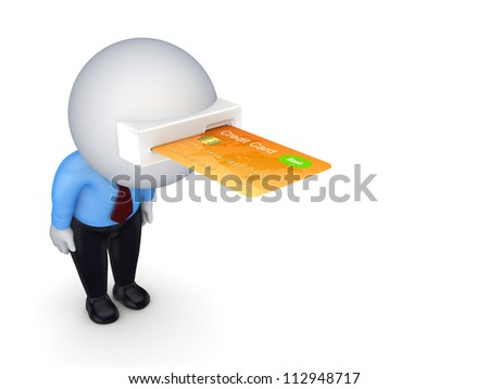 3d small person with a credit card in a head.Isolated on white background. - stock photo