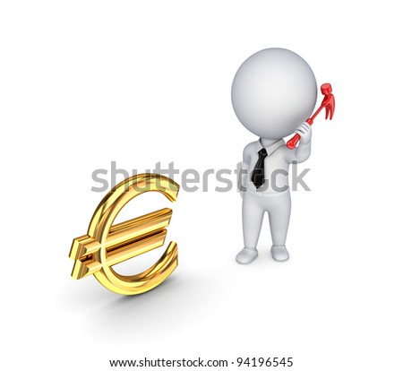 3d small person with a hammer in a hand and euro sign.Isolated on white background. - stock photo