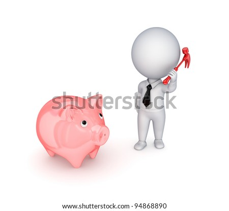 3d small person with a hammer in a hand and piggy bank.Isolated on white background. - stock photo