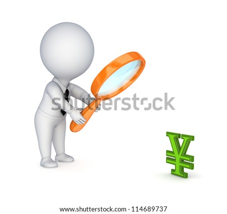 3d small person with a loupe and yen symbol.Isolated on white background.3d rendered. - stock photo