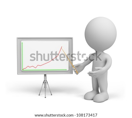 3d small person with a pointer in his hand and chart. 3d image. Isolated white background. - stock photo