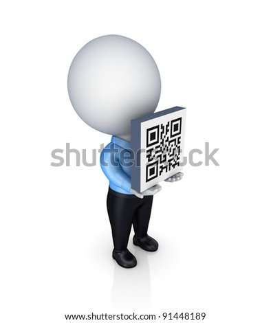 3d small person with a QR code in a hands.Isolated on white background. - stock photo