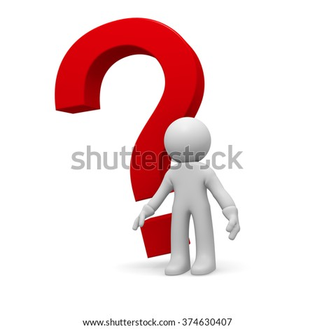 3d small person with a red question mark on a white background  - stock photo
