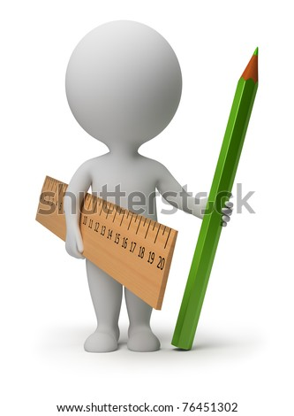 3d small person with a ruler and a green pencil. 3d image. Isolated white background. - stock photo