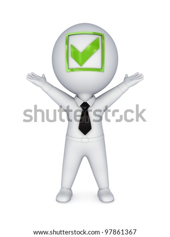 3d small person with a tick mark on a face.Isolated on white background. - stock photo