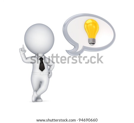 3d small person with an idea symbol.Isolated on white background. - stock photo