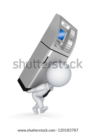 3d small person with ATM on a back.Isolated on white background. - stock photo