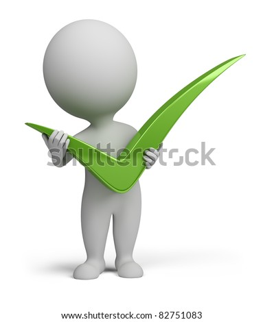 3d small person with big positive symbol in hands . 3d image. Isolated white background. - stock photo