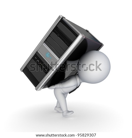 3d small person with computer.Isolated on white background. - stock photo