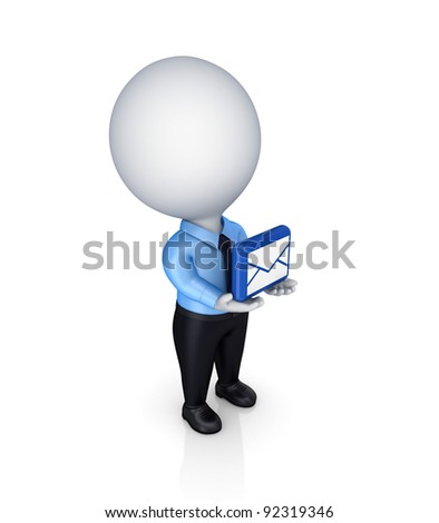 3d small person with envelope symbol in a hands.Isolated on white background. - stock photo