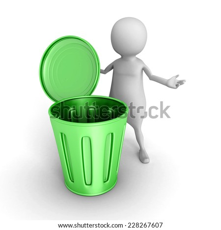 3d small person with green trash can. 3d render illustration - stock photo