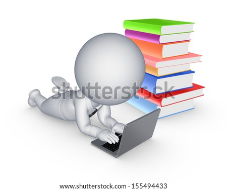 3d small person with notebook and colorful books.Isolated on white. - stock photo