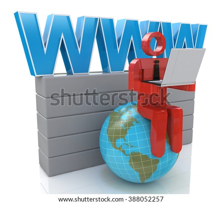3d small person working on a laptop next to the globe. 3d image. White background. in the design of information related to internet - stock photo