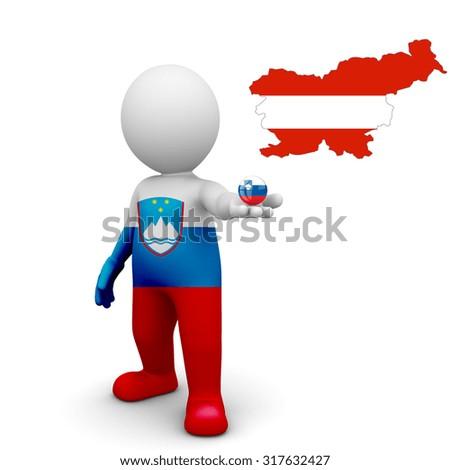 3 D small Slovenia people - Map of Slovenia  in Austria flag colors. Austrians in Slovenia  - stock photo