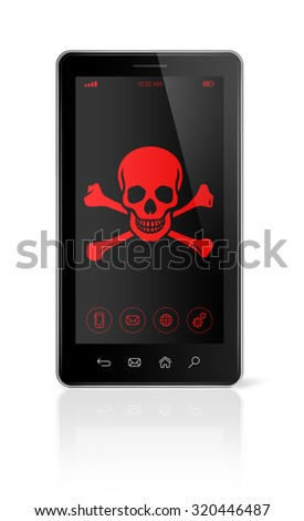 3D smart phone with a pirate symbol on screen. Hacking concept - stock photo