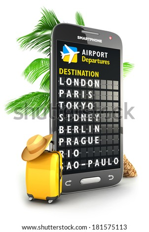 3d smartphone airport board, isolated white background, 3d image - stock photo