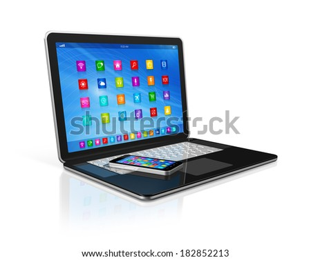 3D Smartphone and Laptop isolated on white with clipping path - stock photo