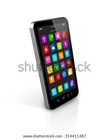 3D smartphone, mobile phone with apps icons interface - isolated on white with clipping path - stock photo