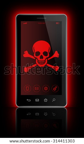 3D smartphone with a pirate symbol on screen. Hacking concept - stock photo