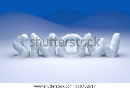 3D snow text on a winter background - stock photo