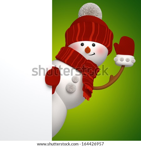 3d snowman banner, green background, Christmas greeting card template - stock photo