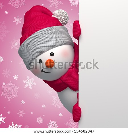 3d snowman holding blank page, Christmas banner - stock photo