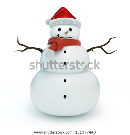3d snowman isolated - stock photo