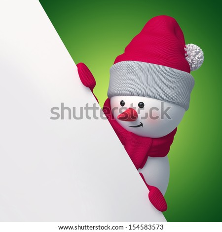 3d snowman looking down, holding Christmas promotional banner - stock photo