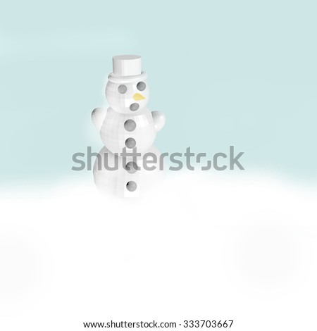 3D Snowman on isolated background. - stock photo