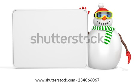 3d snowman with big blank banner  on white background - stock photo