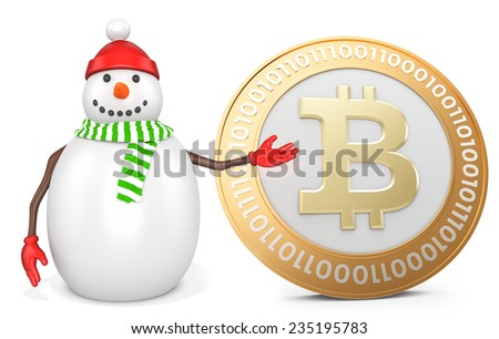 3d snowman with  bitcoin  on white background - stock photo