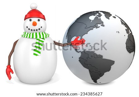 3d snowman with earth globe  on white background - stock photo