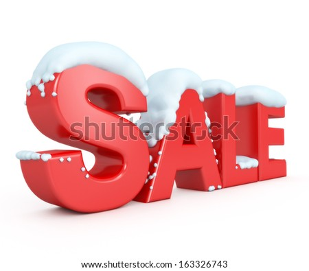 3d snowy red text SALE - stock photo