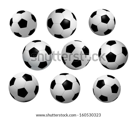 3D soccer and football to continue icon design, Isolated realistic - stock photo