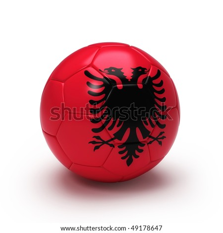 3D soccer ball with Albanian team flag, world football cup 2010. Isolated on white - stock photo