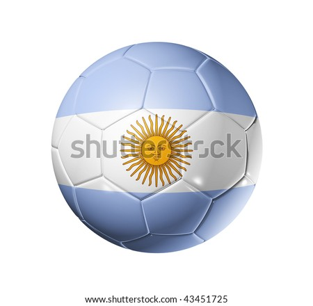 3D soccer ball with Argentina team flag, world football cup 2014. isolated on white with clipping path - stock photo