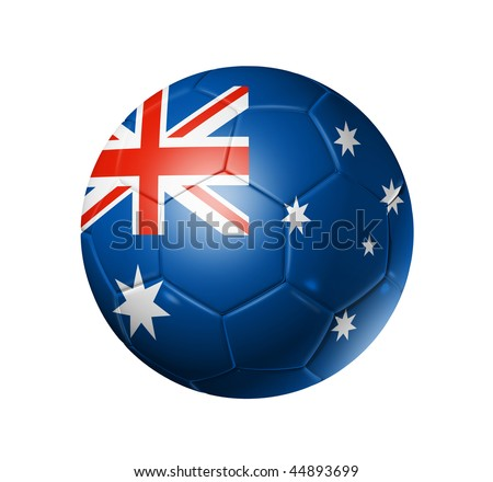 3D soccer ball with Australia team flag, world football cup 2014. isolated on white with clipping path - stock photo