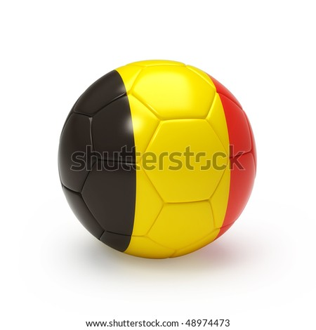 3D soccer ball with Belgium team flag, world football cup 2010. Isolated on white - stock photo